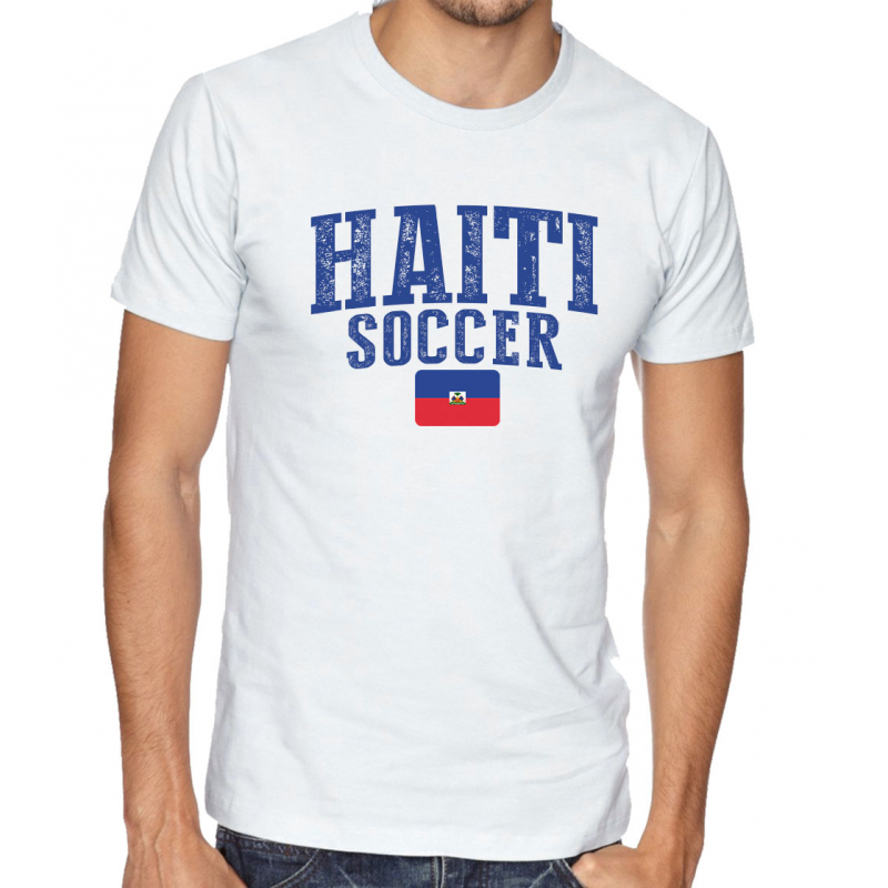 Men\u0027s Round Neck Tee T Shirt Soccer Haiti