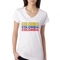 1a15c2716 Colombia Women s V Neck Tee T Shirt Colombia letters Available colors
