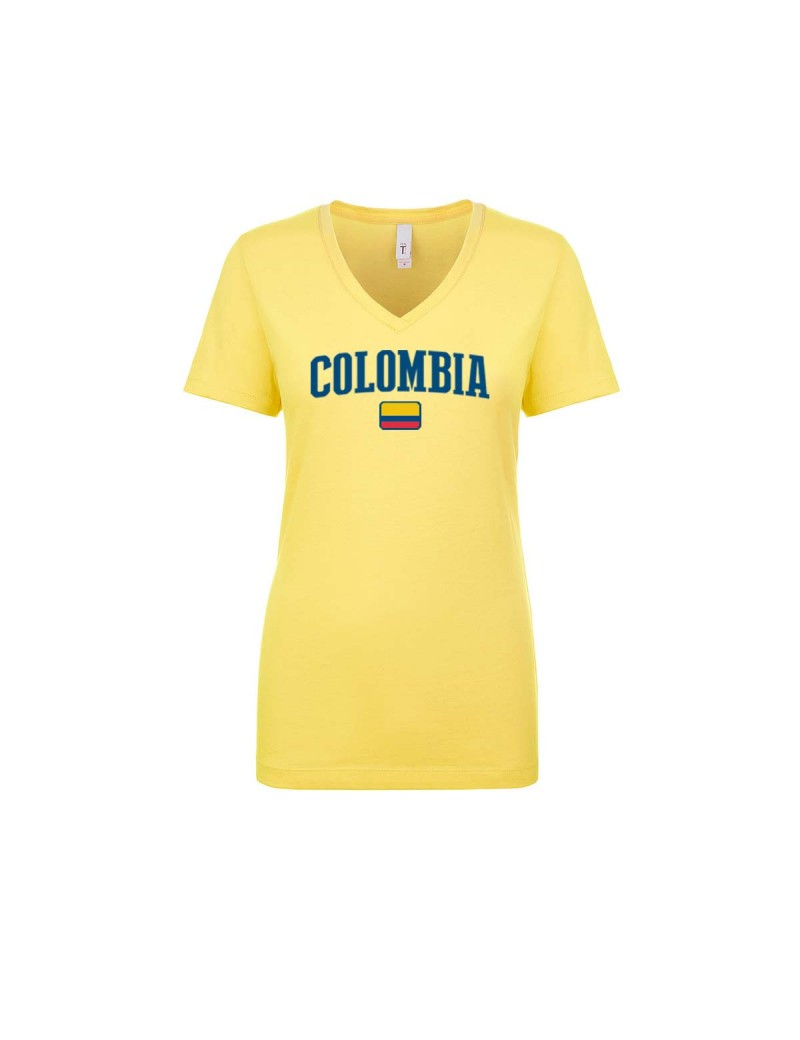 Colombia World Cup Women s V Neck T-Shirt  e6a3a39af